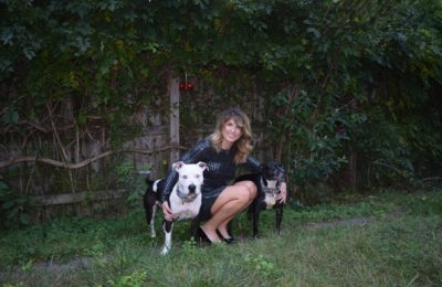 Just a girl with her two dogs